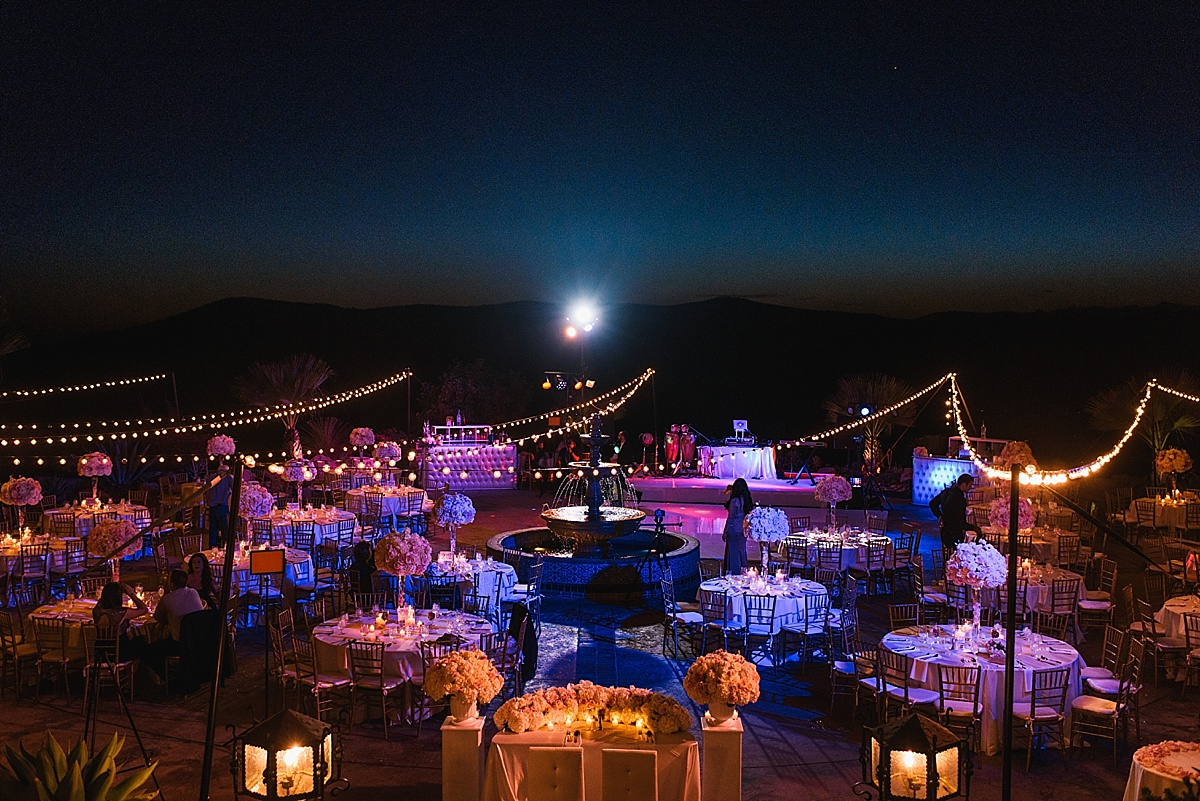 Hummingbird Nest Ranch reception moonlight