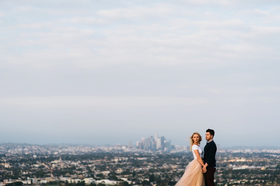 epic portrait with downtown LA in background