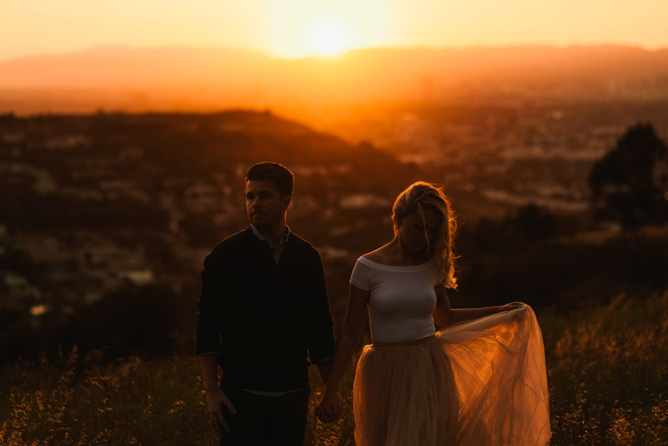sunset engagement silhouette