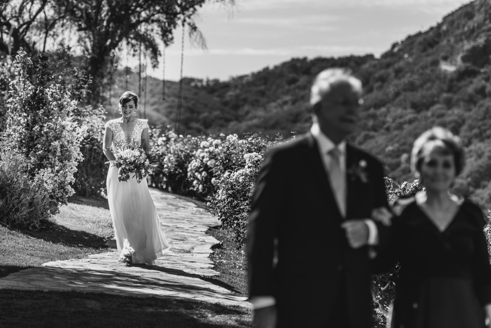bride walks down the aisle