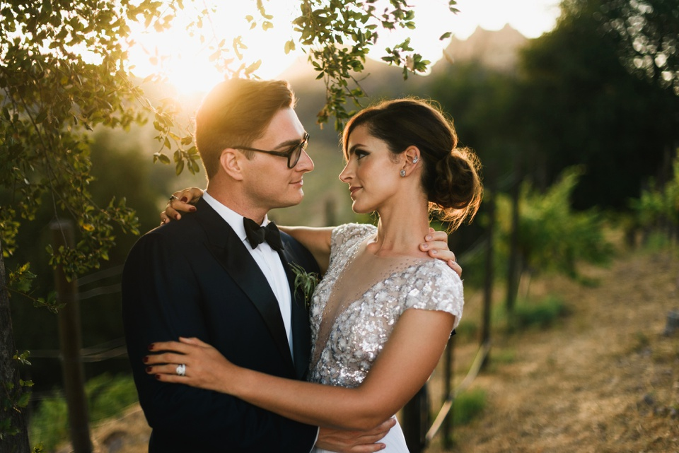 Saddlerock Ranch Wedding romantic sunset portrait