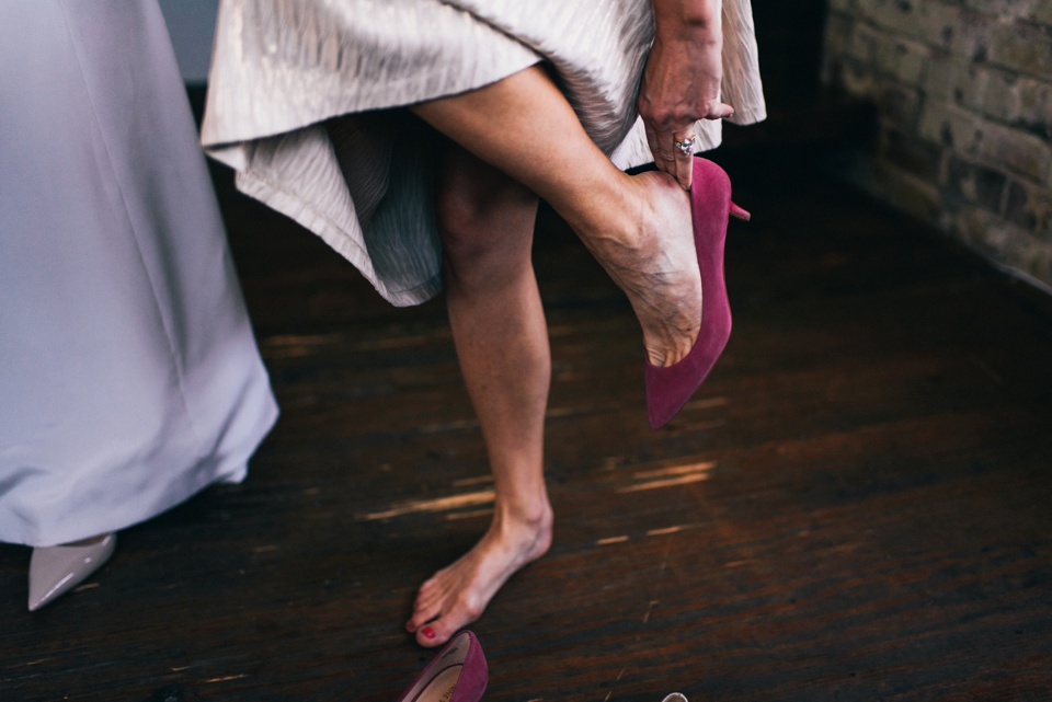 bridesmaid gets ready to leave for venue