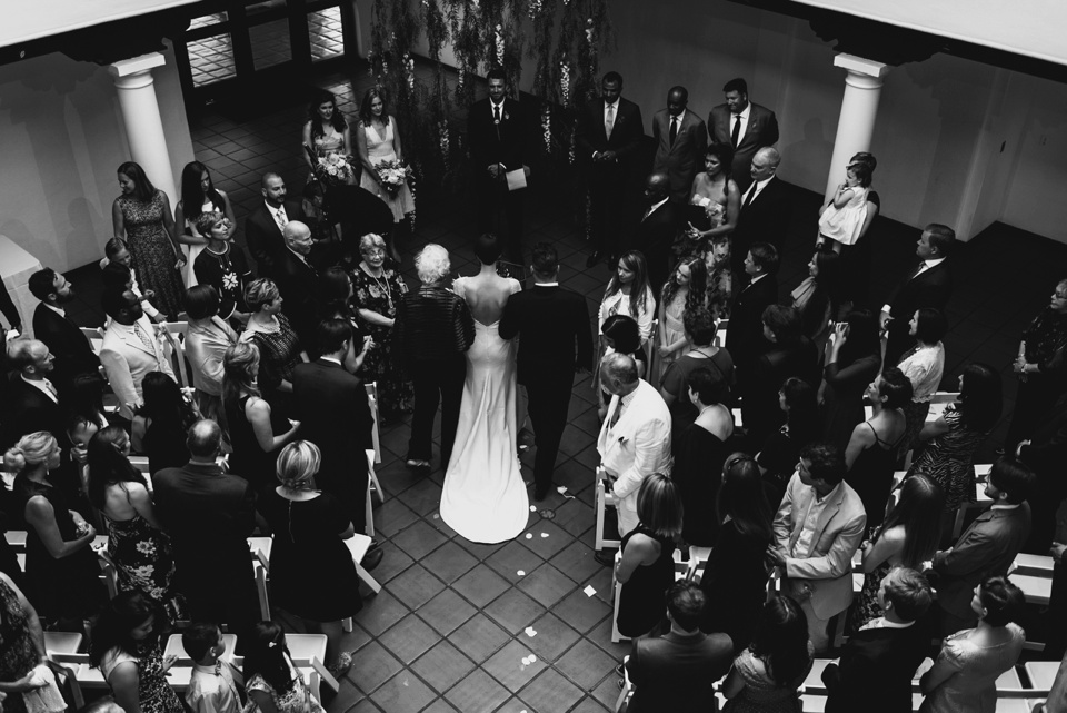 overhead view of bride walking down the aisle