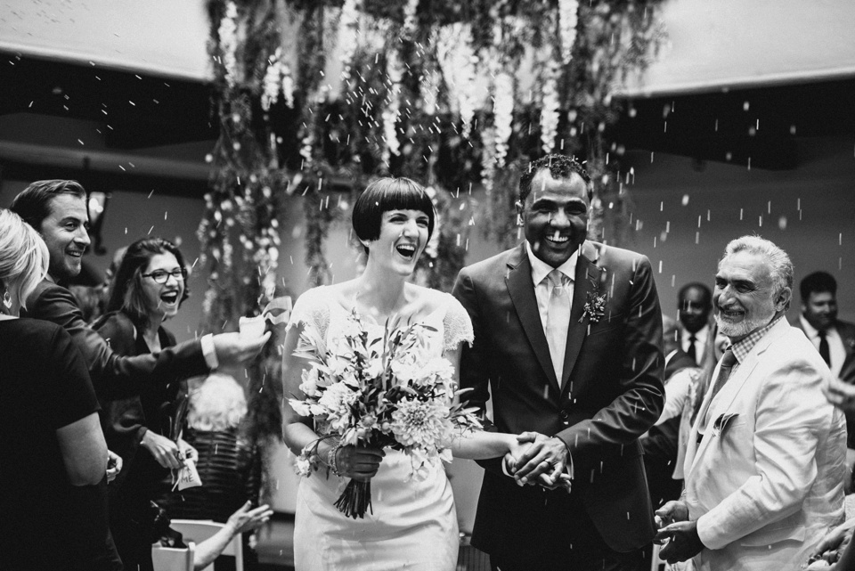 confetti shot at los angeles river center and gardens wedding