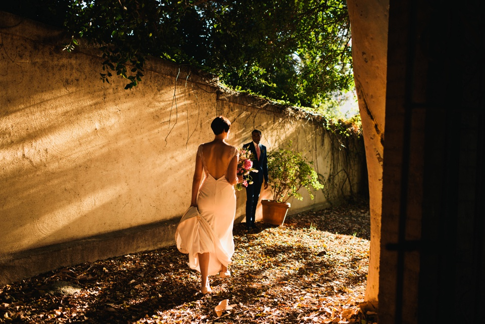 sunset portraits at los angeles river center and gardens wedding