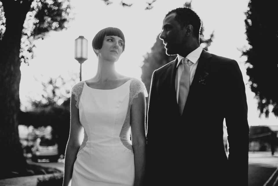 classic walking shot of bride and groom