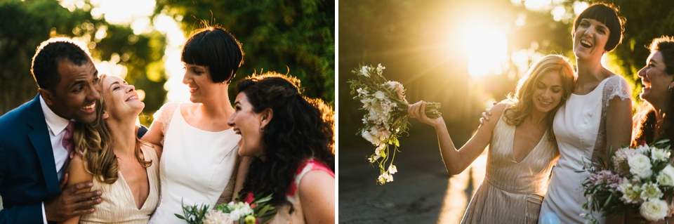 sunset bridal party photos