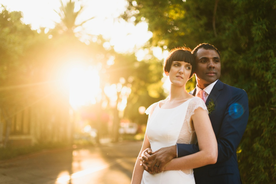 sunset photos at los angeles river center and gardens wedding