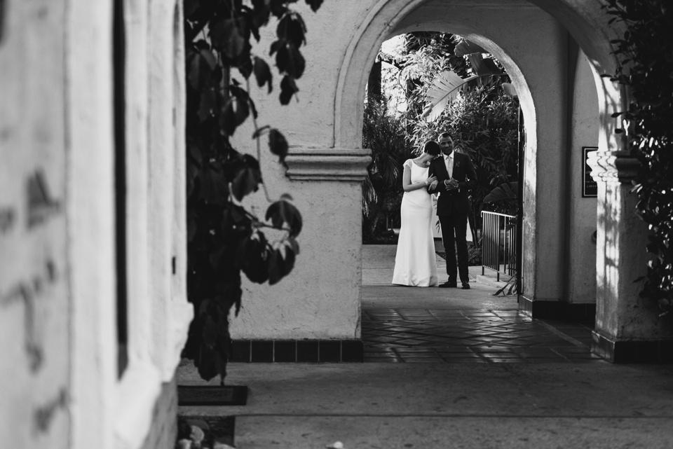 bride and groom prepare for grand entrance