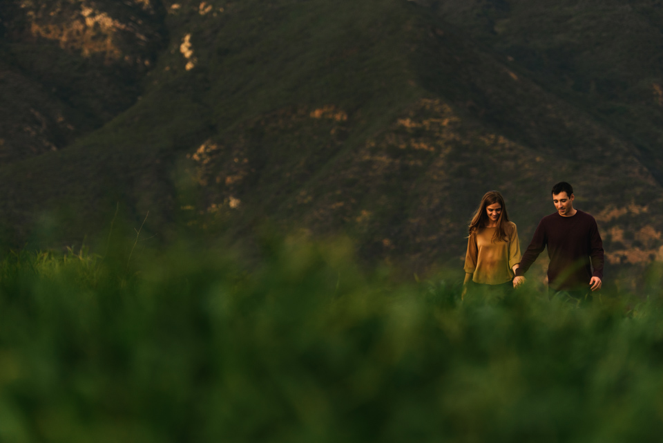couple walk through fields in malibu