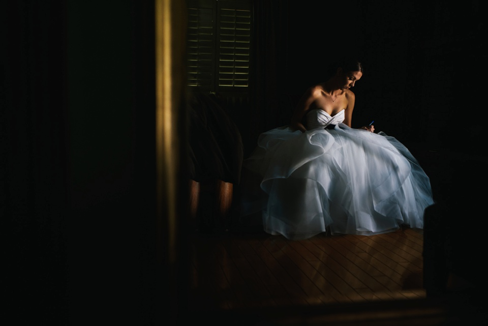 bride writing letter to her mom