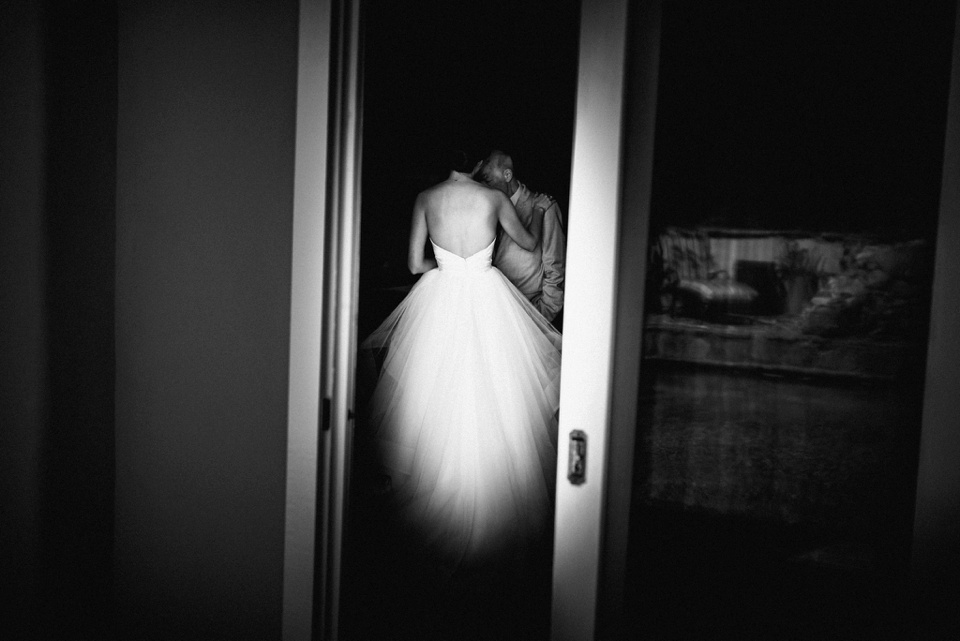 bride and dad quiet moment together
