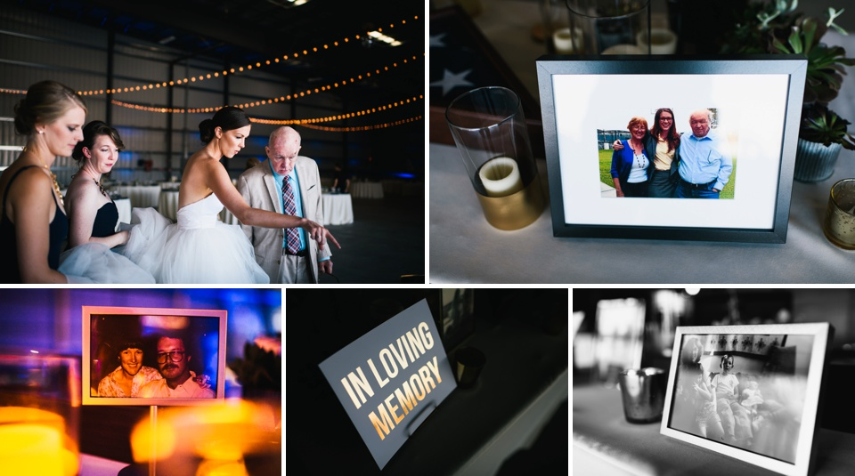 bride shows father memory table