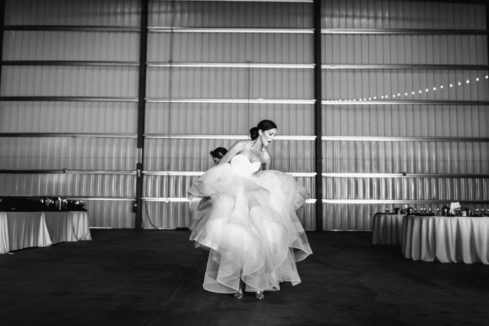 bride in aircraft hangar camarillo airport wedding
