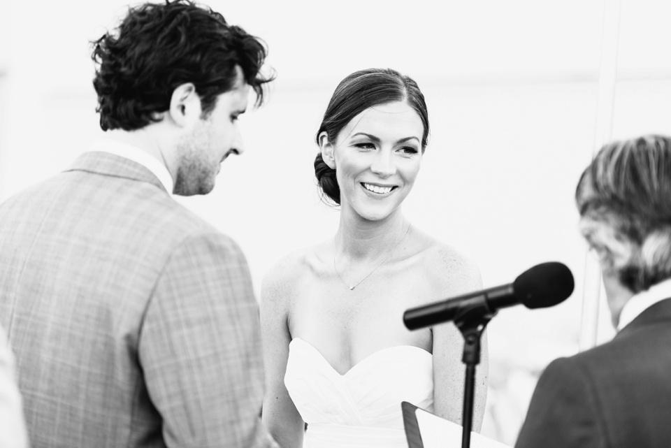 happy bride saying vows