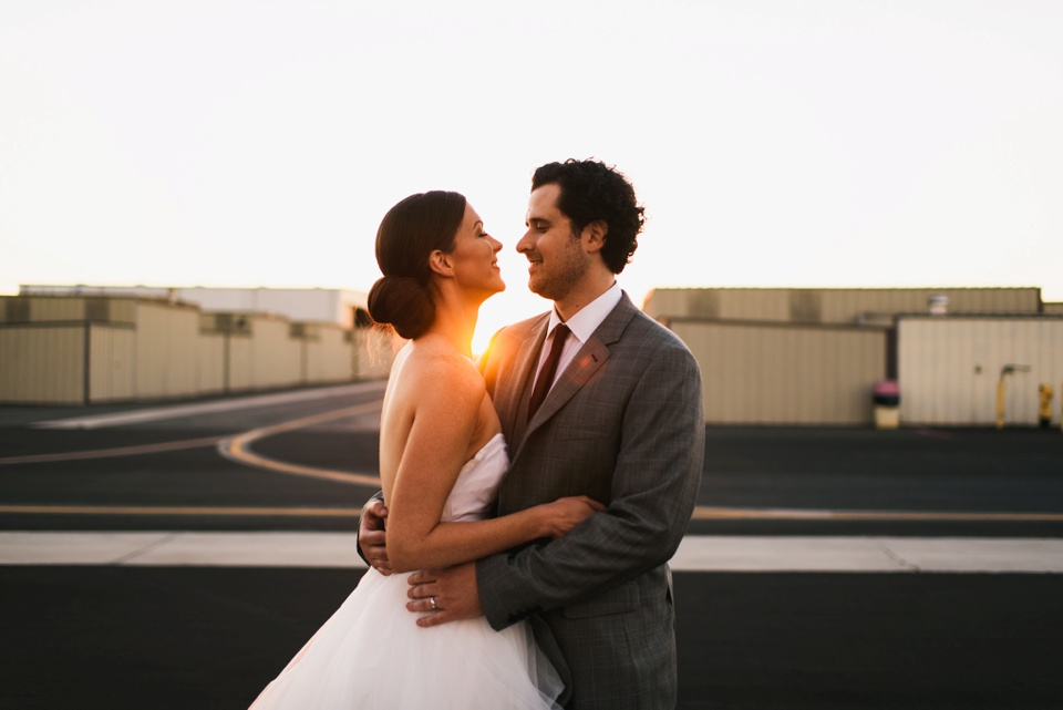 sunset portrait of couple camarillo airport wedding