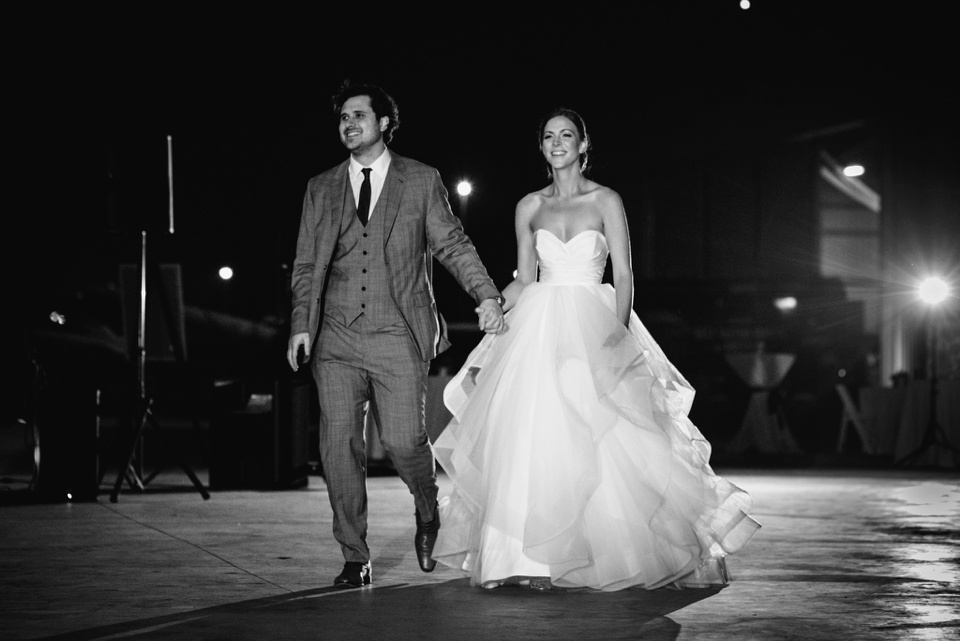 reception entrance by bride and groom