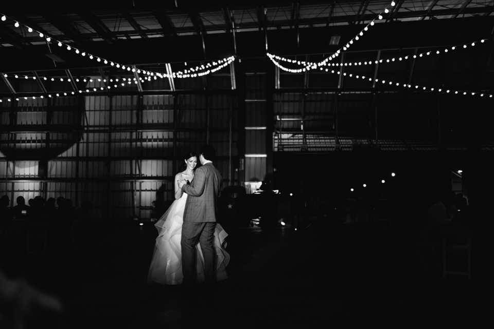 first dance in aircraft hangar at camarillo airport wedding