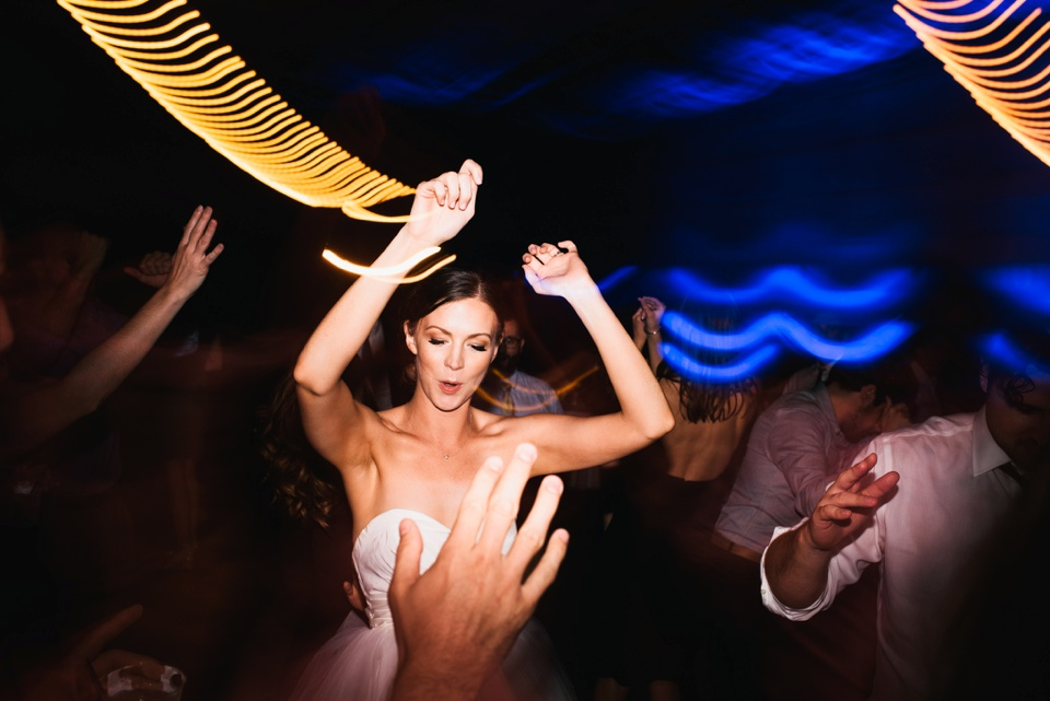 bride dances light trails