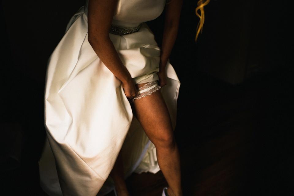 garter sneak peak bride leg