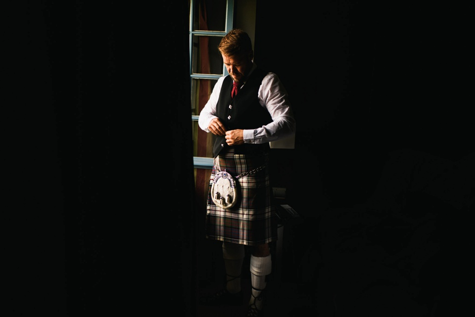 scottish groom in wedding day kilt