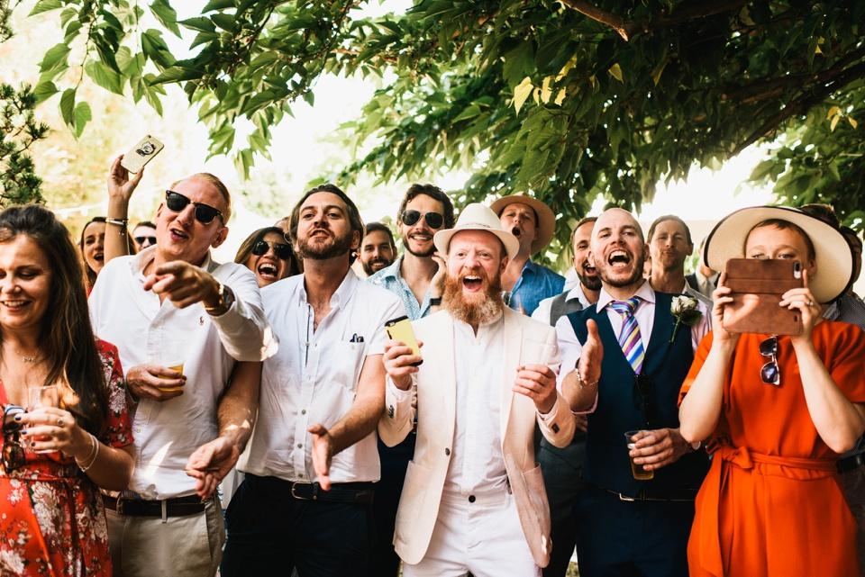 french destination wedding in family garden