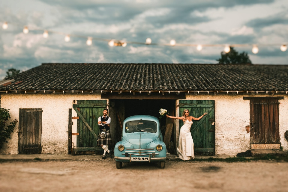classic french car wedding portrait