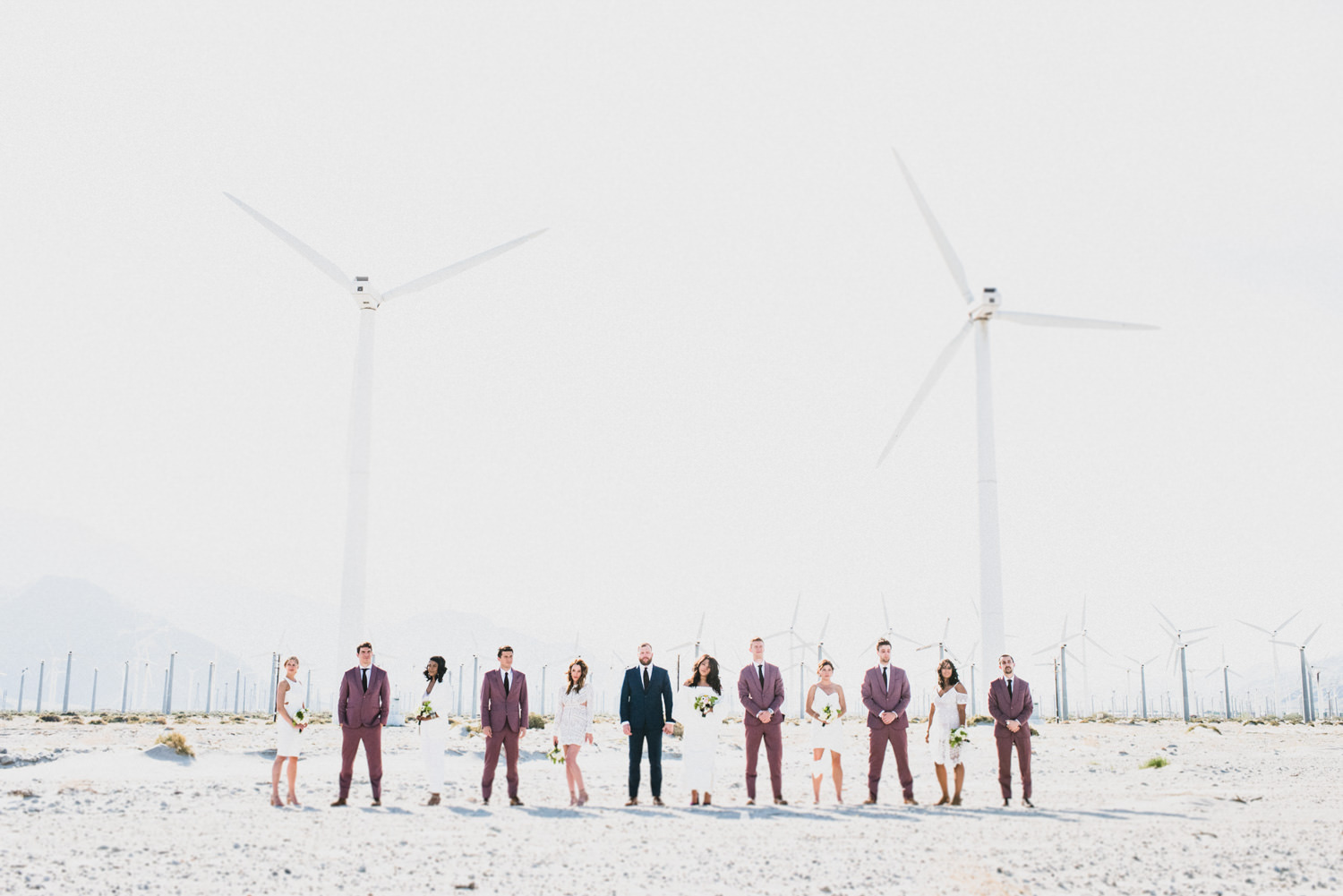 palm springs wedding bridal party windmills - Best LA Wedding Photography