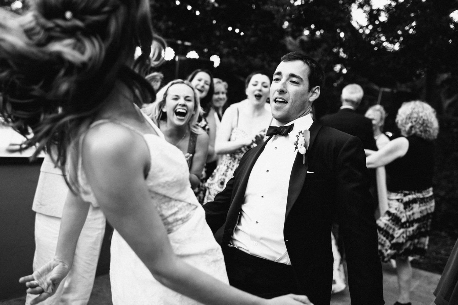 bride and groom dancing at reception - Best LA Wedding Photography