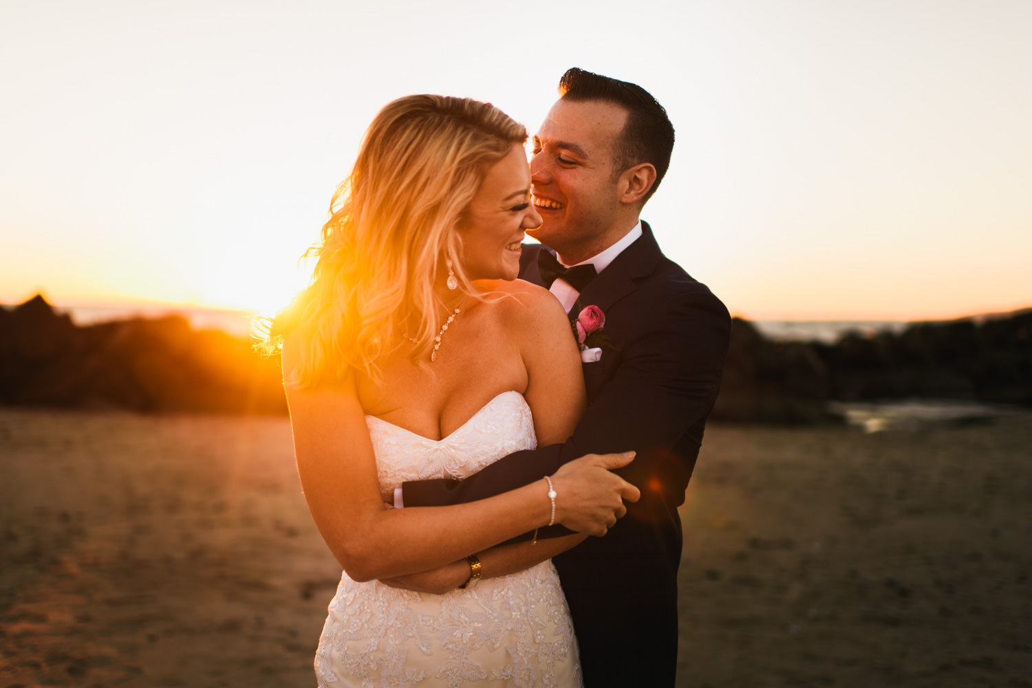 sunset bride and groom portraits on venice beach - Best LA Wedding Photography