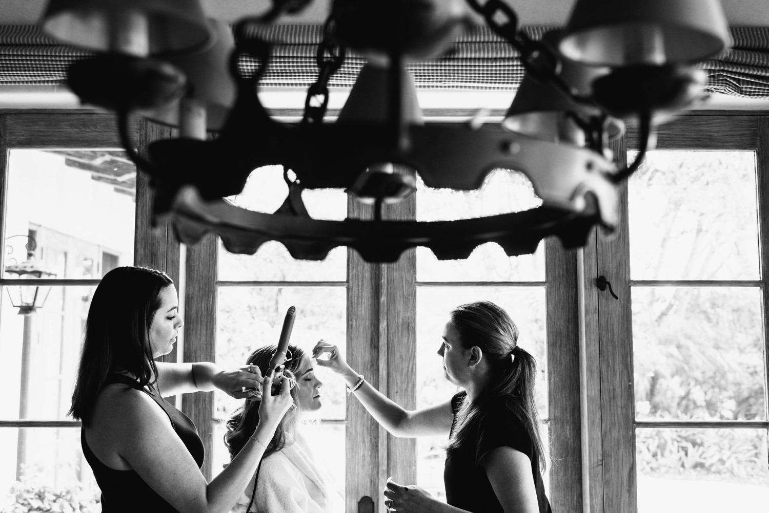 bride gets makeup done - montecito wedding photography