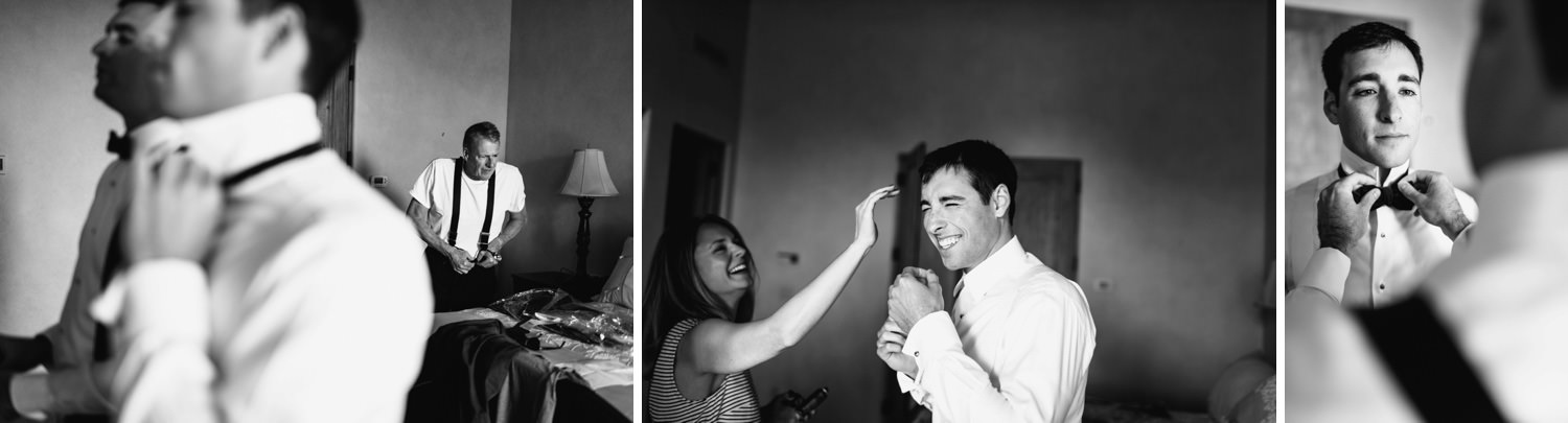 groom laughs with family getting ready - montecito wedding photography