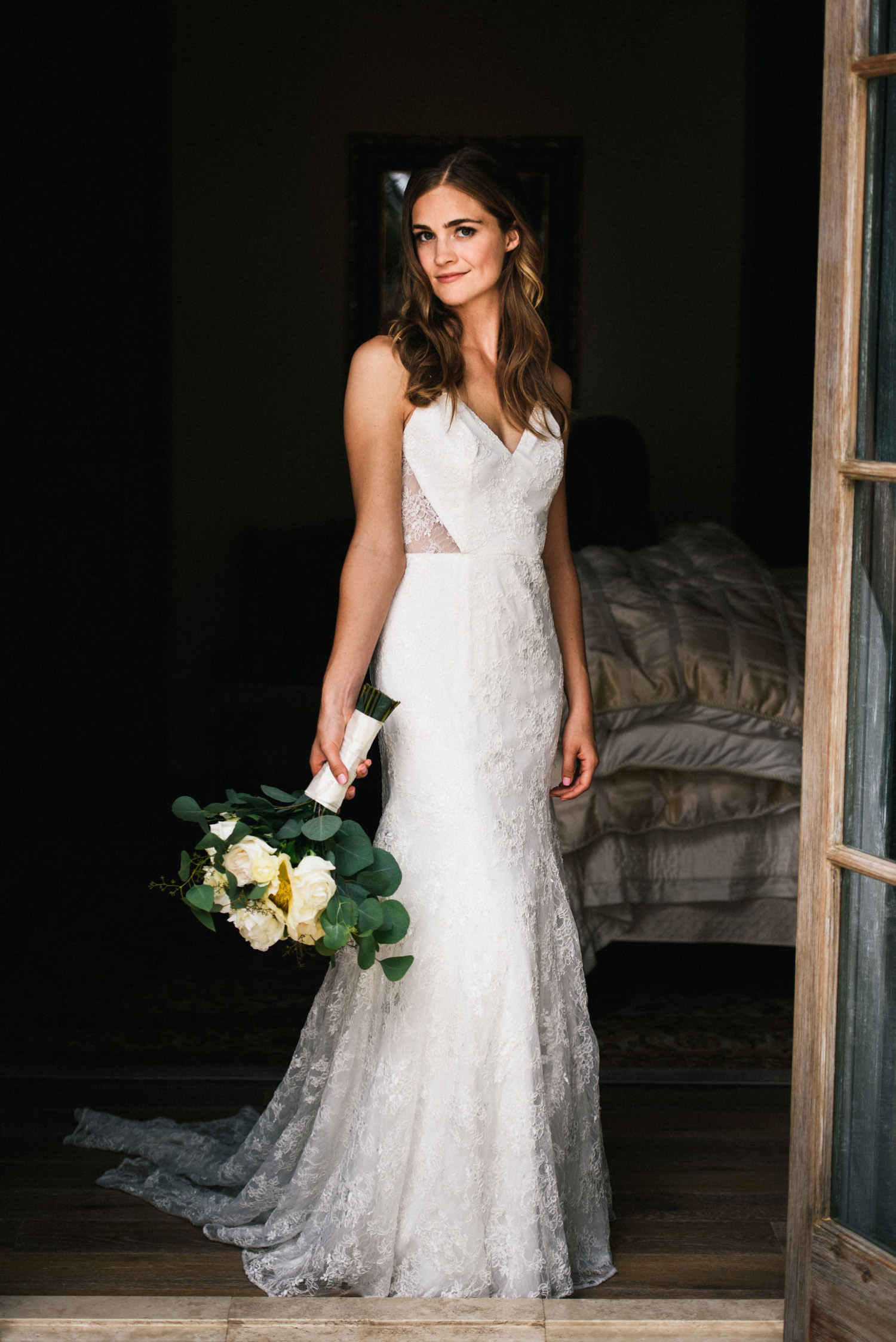 beautiful bride portrait with window light - montecito wedding photography