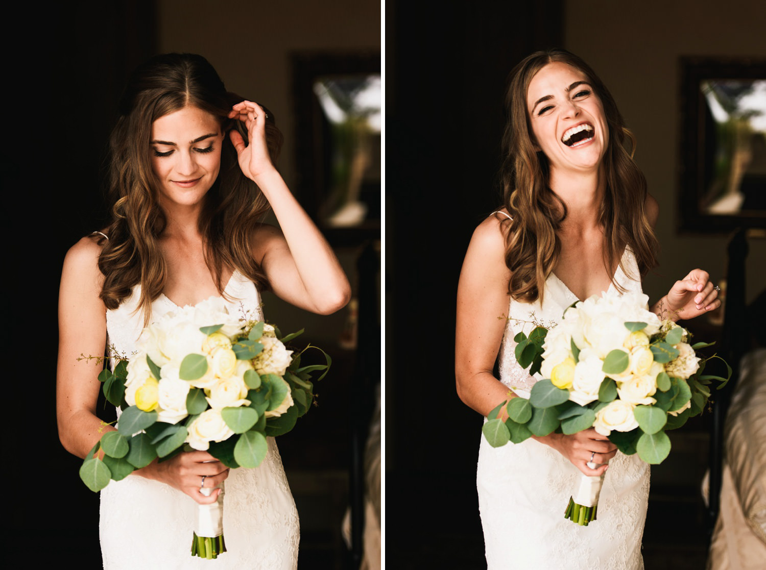 bride portraits laughing and relaxed - montecito wedding photography