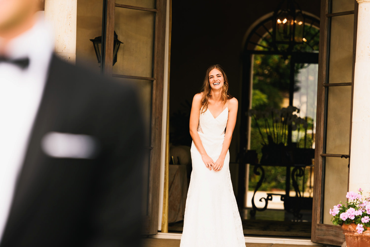 laughing bride first look - montecito wedding photography
