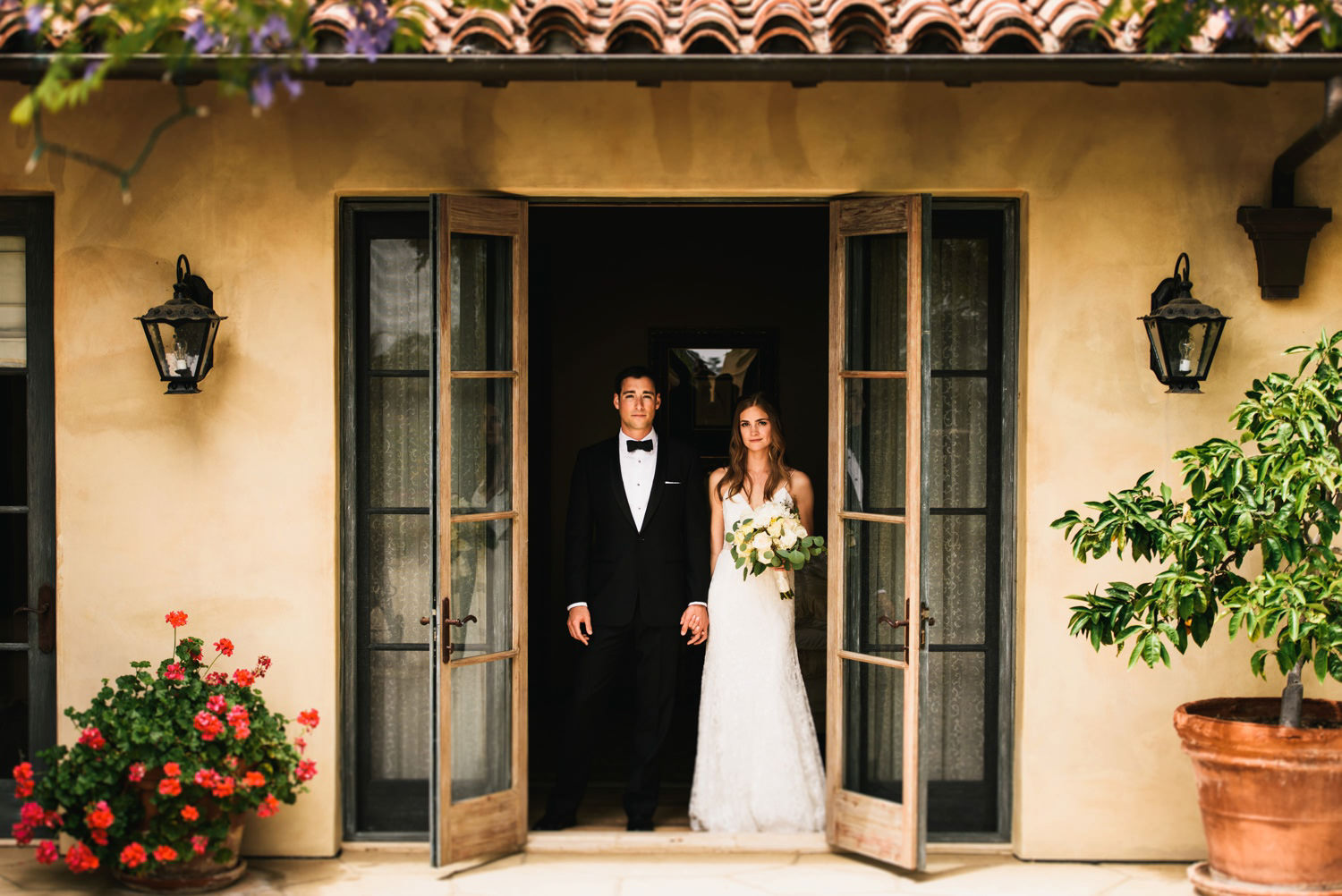 montecito home wedding bride and groom portrait - montecito wedding photography