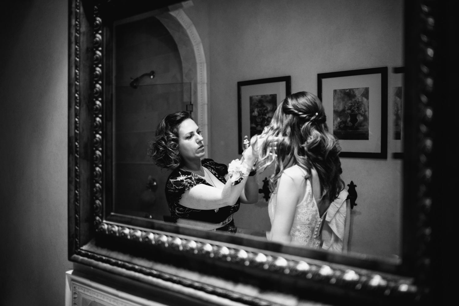 bride last minute touch ups to hair before ceremony - montecito wedding photography