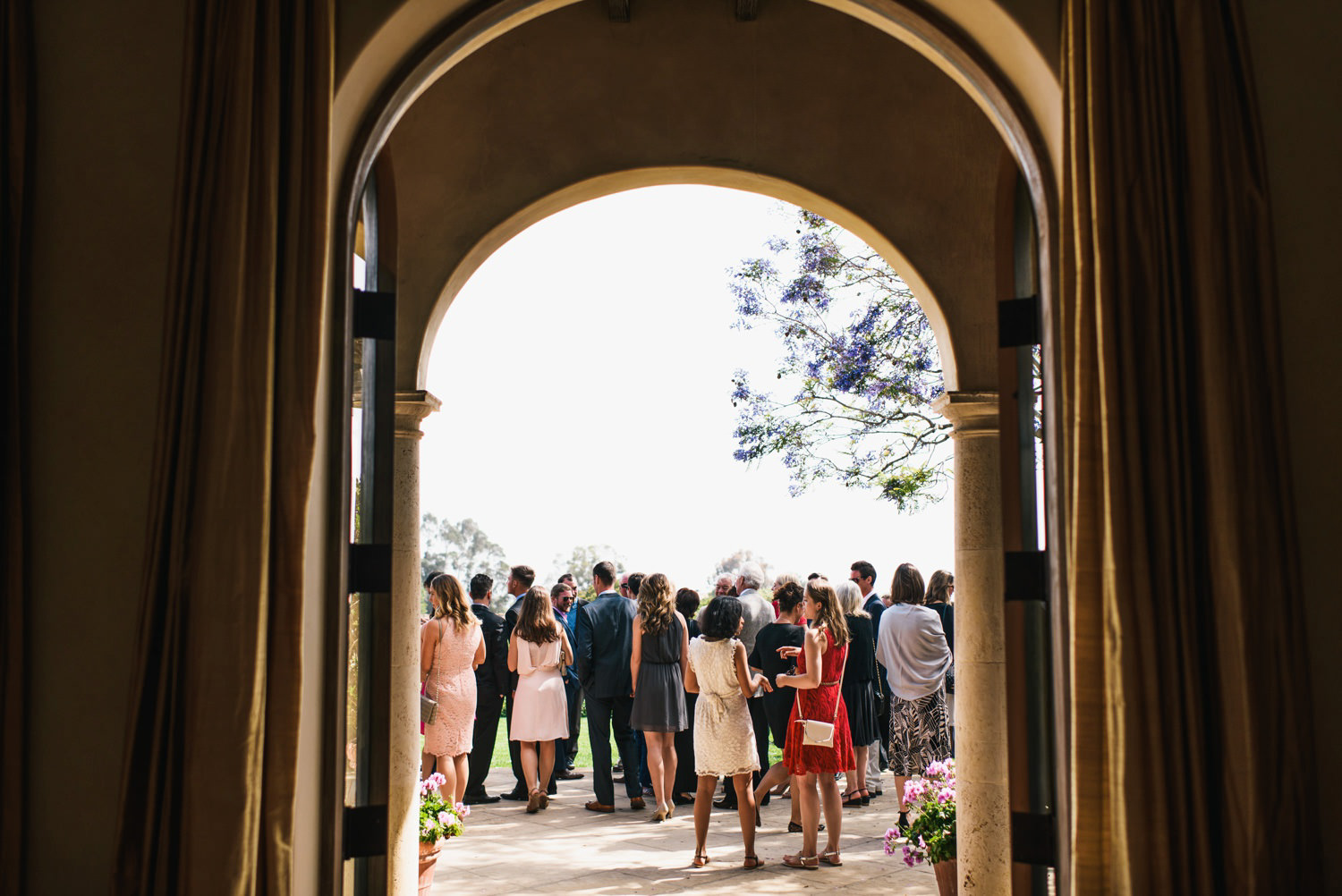 guests gather and prepare for ceremony - montecito wedding photography