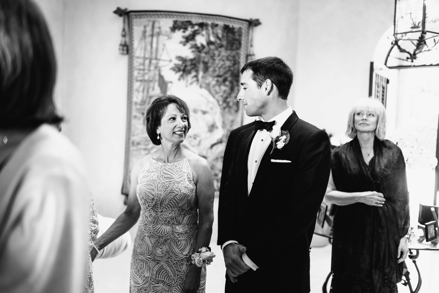 emotional glance between mother and son - montecito wedding photography