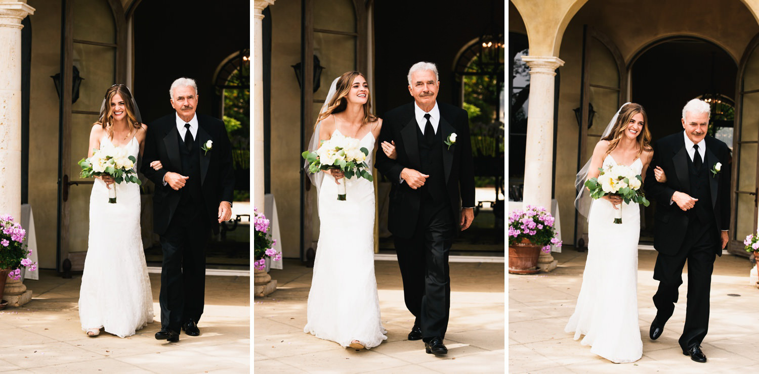 dad walks beaming bride down the aisle - montecito wedding photography