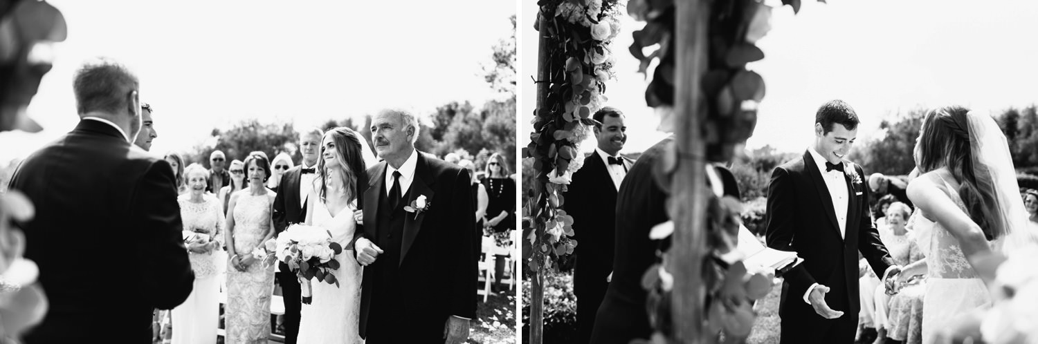 bride arrives at the altar - montecito wedding photography