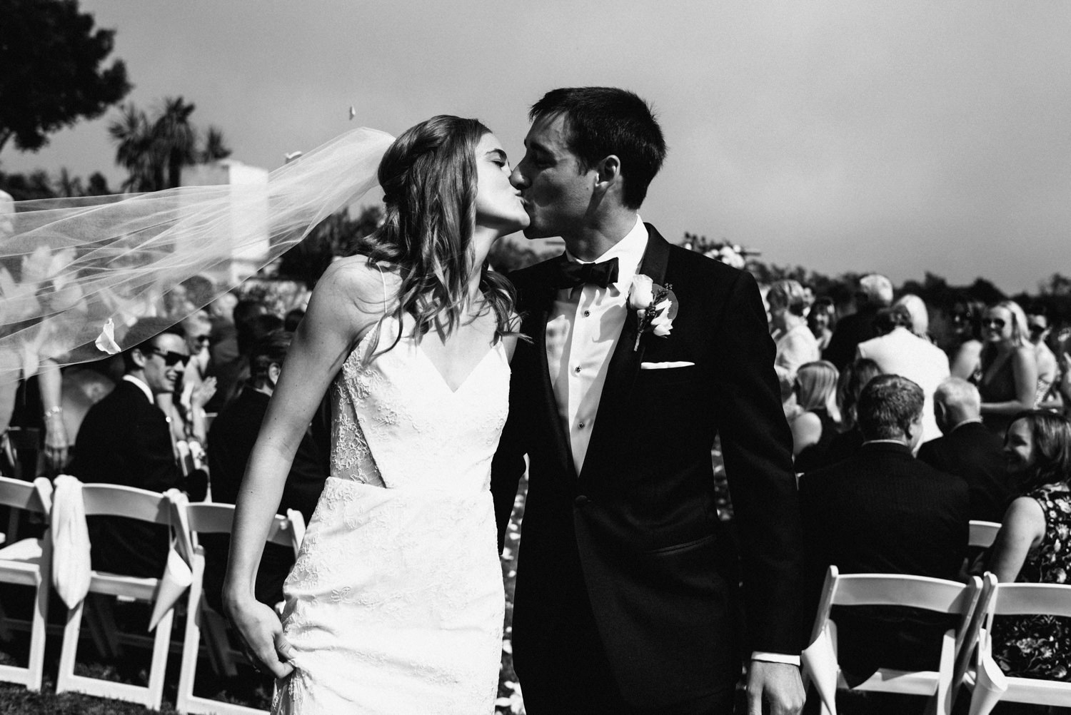 couple kiss just after being announced man and wife - montecito wedding photography