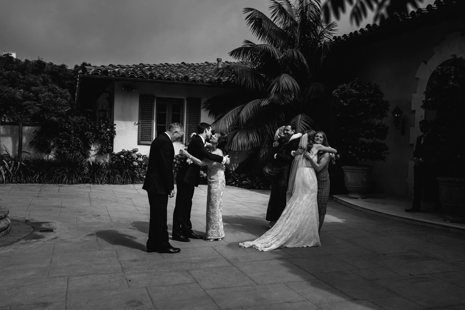 family congratulate couple - montecito wedding photography