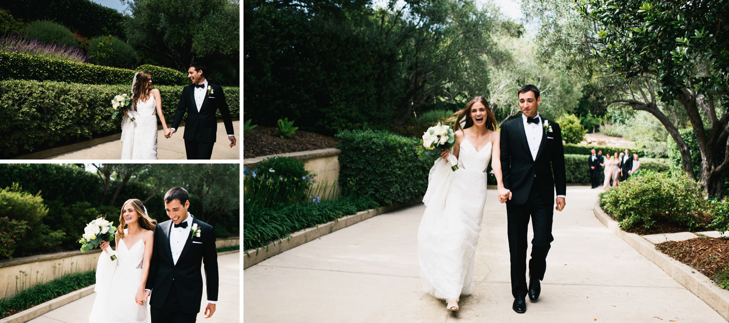 happy couple walk from house to reception area - montecito wedding photography