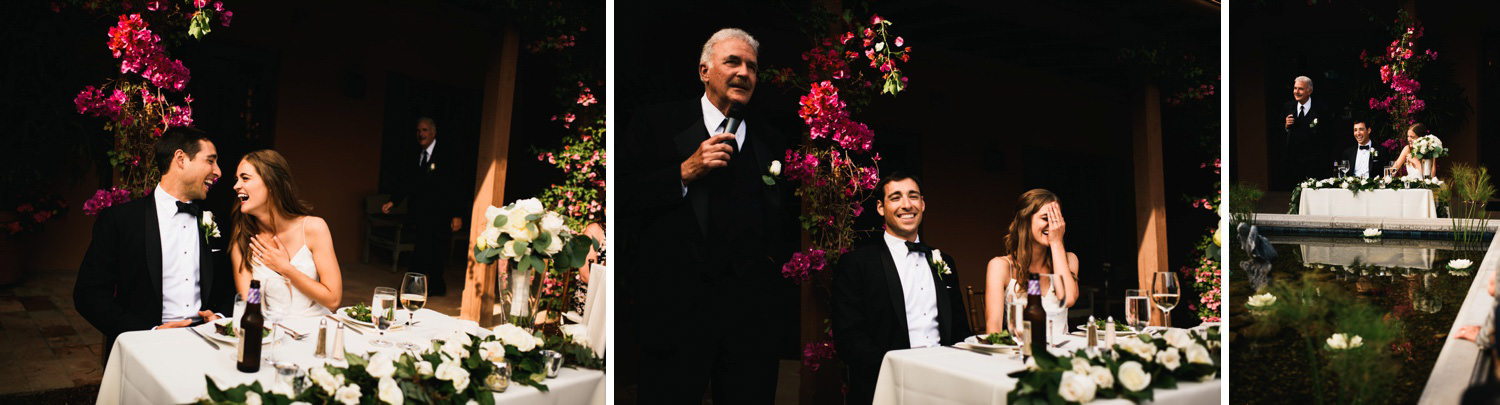 reactions and emotions during father of bride toast - montecito wedding photography