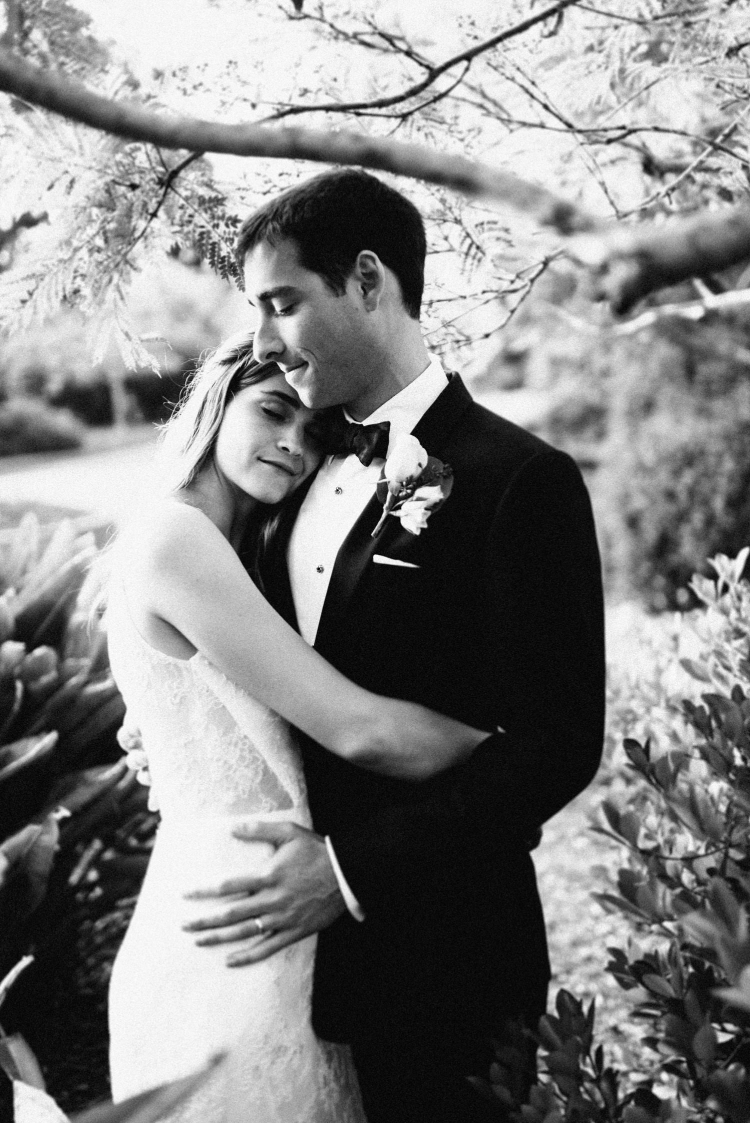 classic black and white portrait of couple amongst the trees - montecito wedding photography