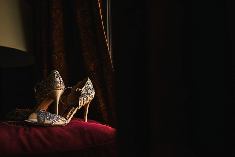 wedding shoes in window light
