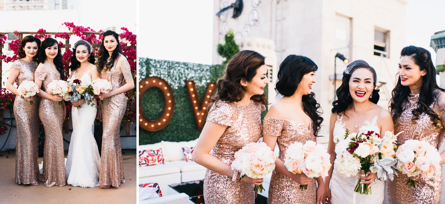 laughing happy bridesmaid portraits by love sign